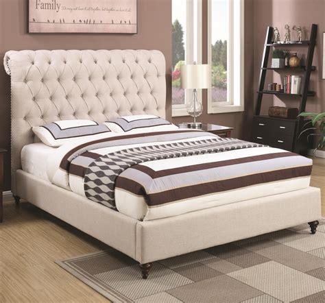 coaster devon  queen upholstered bed  beige