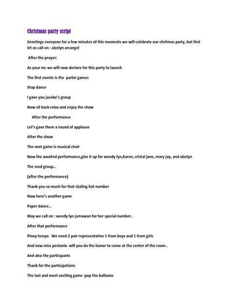 christmas party emcee script script