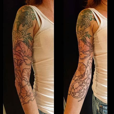 art nouveau 3 4 sleeve on jamaica by nancytattooer