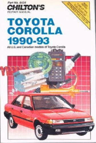 Toyota Corolla 1990 Manual Chilton Toyota Corolla 1990 1993 Repair Manuals