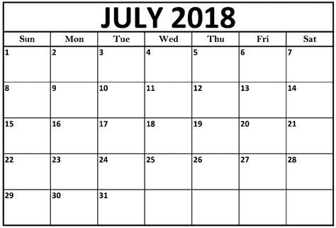 printable calendar july 2018 july 2018 calendar printable