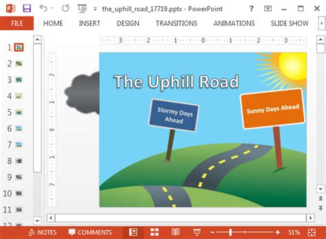 powerpoint template road animated uphill road powerpoint template