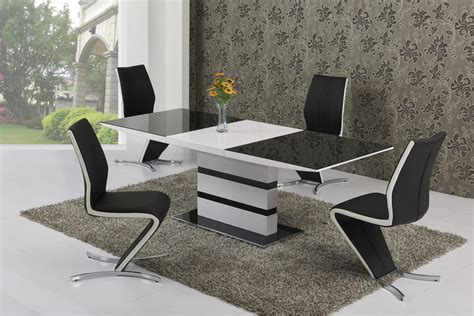 Glass Dining Table 8 Chairs Large Extending Black Glass White Gloss Dining Table And 8 Chairs