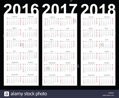 2016 To 2018 Calendar Calendar For 2016 2017 And 2018 Year Stock Photo