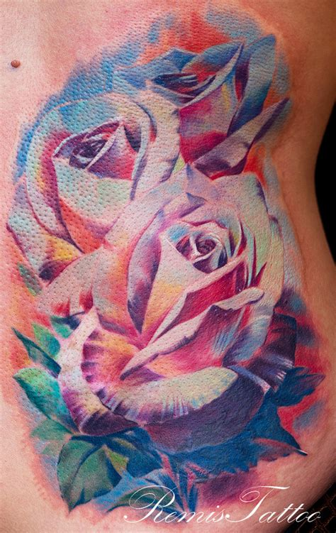 coloured rose tattoos color by remistattoo on deviantart