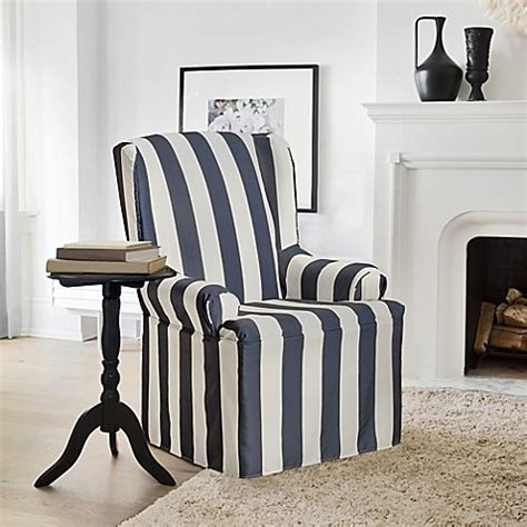 navy chair slipcover buy furnitureskins hton wing chair slipcover in navy
