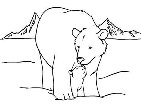 Top Arctic Animals Polar Bear And His Baby Colouring Page Arctic Animals Colouring Pages