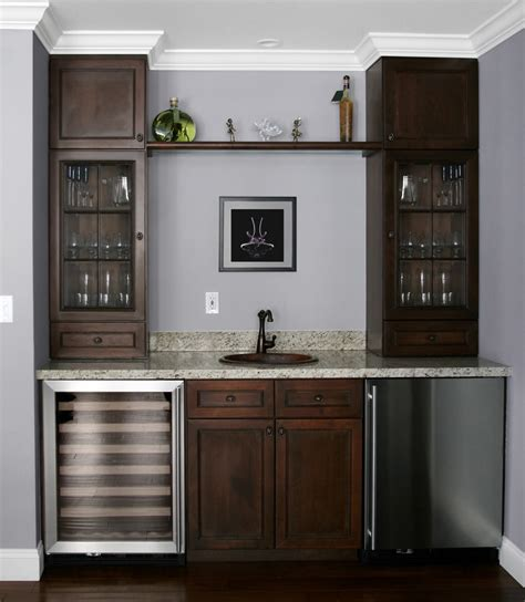 basement bar refrigerator bar cabinet design plan with tower glass cabinetry unit and wooden top shelf sterling bar