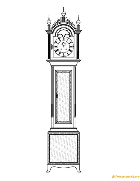 printable grandfather clock tall case grandfather clock coloring page free coloring