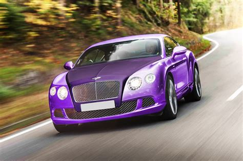 purple bentley bentley with purple mirror covering a matte purple and