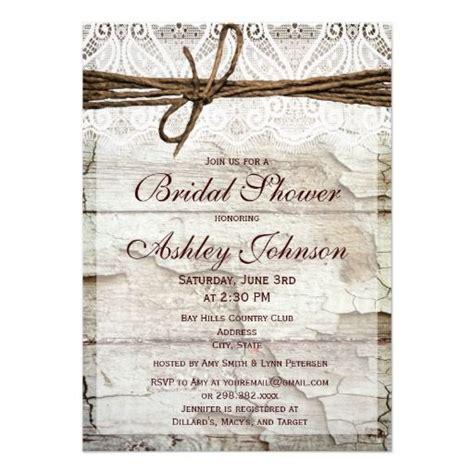 Rustic Barn Wood Lace Bridal Shower Invitations