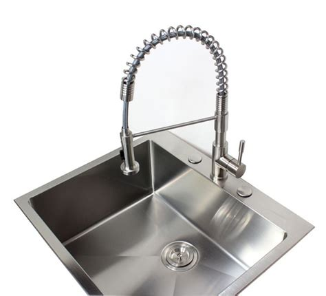 single handle kitchen faucet kf 500 strictly sinks ariel coil style solid stainless steel lead free single