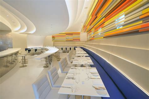 futuristic interior design cafe the wright restaurant in new york s guggenheim museum