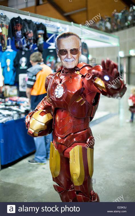 marvel comics fan wearing iron man costume stan