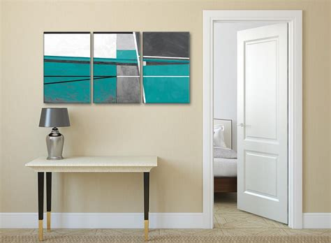 3 teal grey painting kitchen canvas pictures