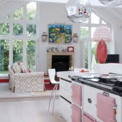 Kitchen Area Ideas Pink And White Kitchens Crockery And Linens Kitchen