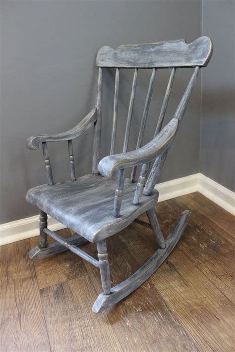 Shabby chic kids rocking chair gray by spendthriftthrive on etsy house ideas pinterest