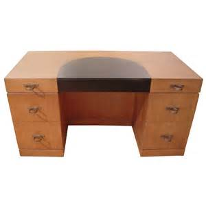deco leather and mahogany desk with fabulous ring