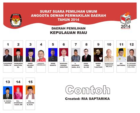 Buku Dewan Perwakilan Daerah Republik Indonesia contoh surat suara calon dewan perwakilan daerah republik