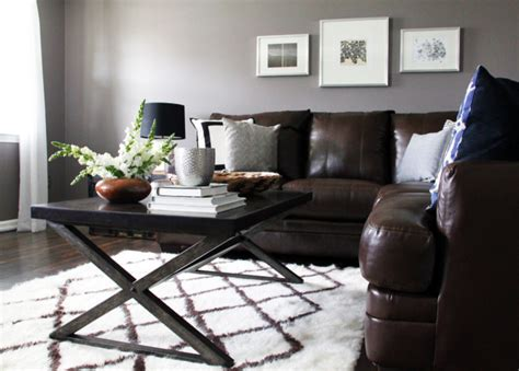 gray walls brown couch beautiful abbyson living in living room contemporary with