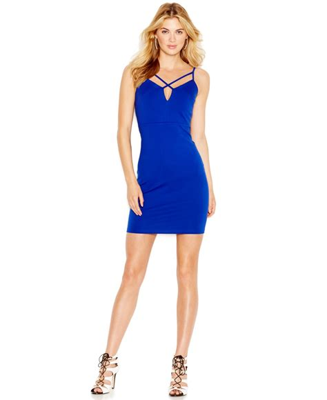 Guess Dress Spandek lyst guess sleeveless bodycon dress in blue