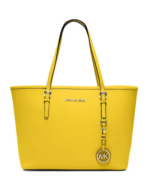 Mk Jetset Yellow Tote L michael kors small jet set saffiano travel tote in yellow lyst
