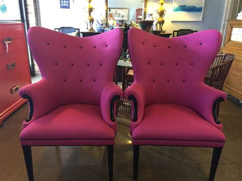 Pink Folding Cing Chair by Wingback Pink And Black Linen Chairs Only One