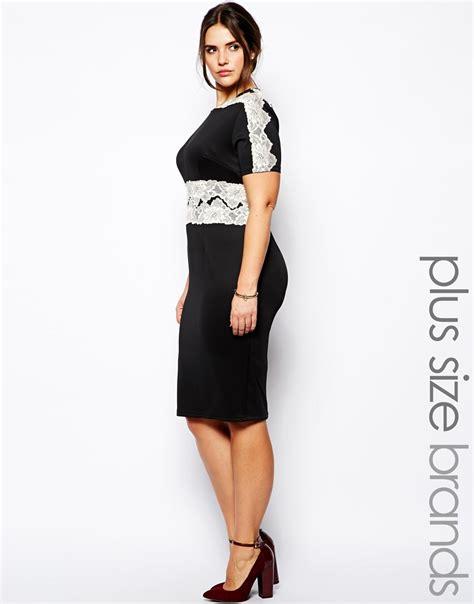 Jfashion Midi Dress Big Size Edition 1 ax plus size lace waist scuba midi dress in black lyst