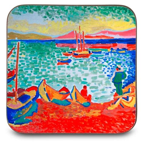 andre derain boats in the port of collioure set of 4 andre derain coasters boats in the port of