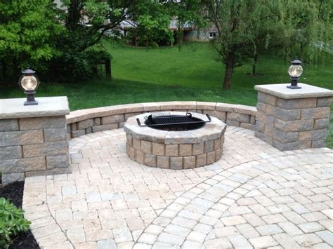 Patio Pavers Grill Paver Patio With Pit Seating Wall And Grill Trex Steps