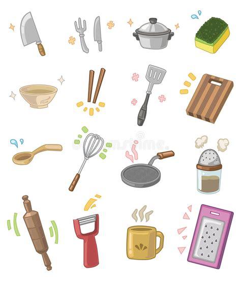 Utensílios Da Cozinha Dos Desenhos Animados Ilustração do