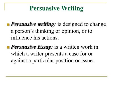 Writing An Argumentative Essay Powerpoint by Ppt Persuasive Writing Powerpoint Presentation Id 4539917