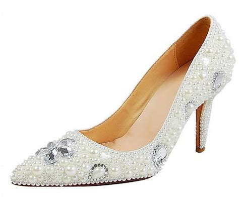 pretty mid heel pearl bridal wedding shoes for women