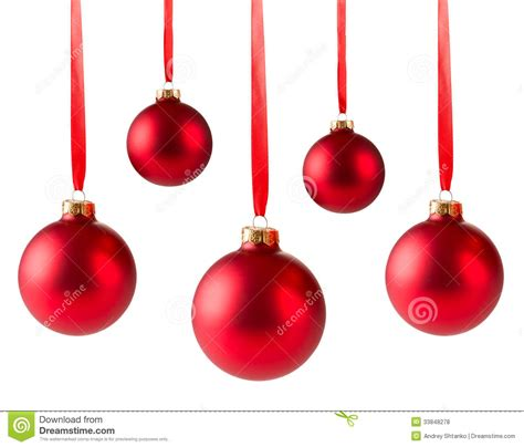 five red christmas balls hanging stock photo image 33848278