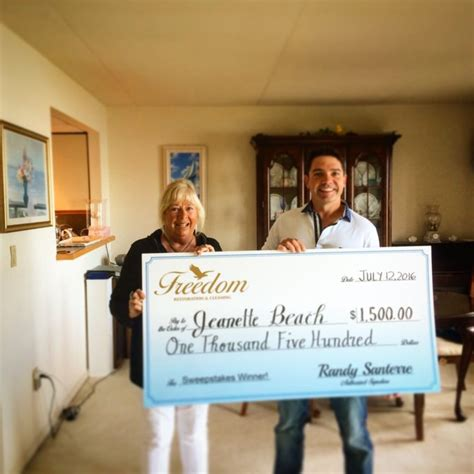 Sweepstakes Administrator - meet our june sweepstakes winner freedom restoration cleaning