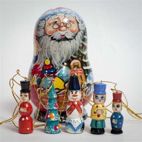 russian santa ornaments set doll christmas tree
