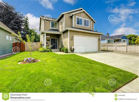 Garage In Front Of House Two Story House Exterior With Front Yard Landscape Stock