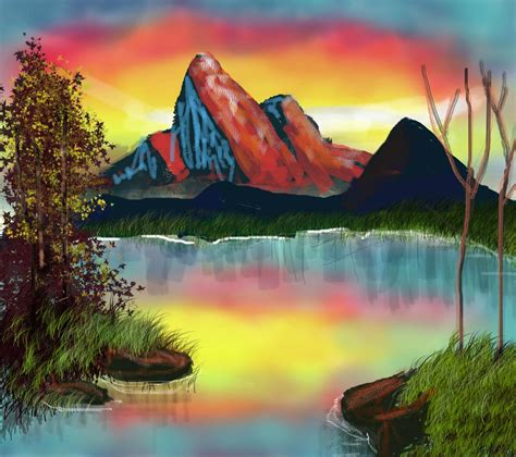 bob ross painting gimp bob ross mountain at sunset season 12 episode 10 this