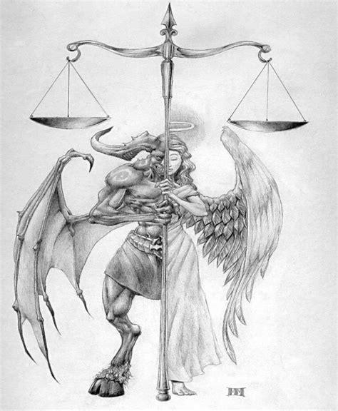 half angel half demon tattoo impressive half half with a scales