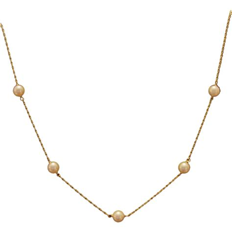 14k gold cultured pearl station necklace sold on ruby