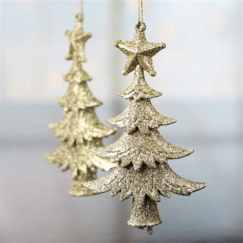 gold glittered christmas tree ornaments christmas