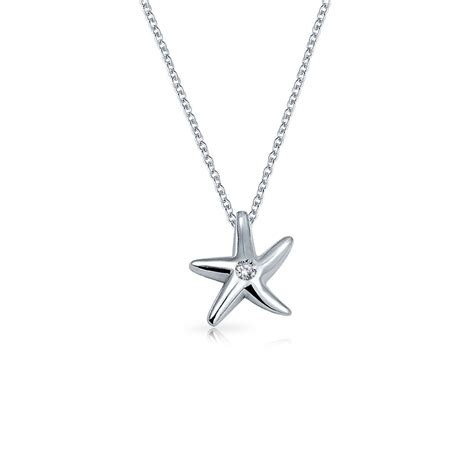 925 sterling silver cz starfish pendant necklace 16 inches