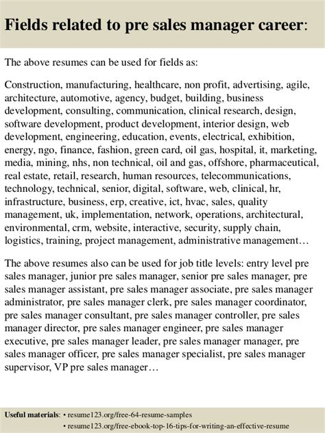 top 8 pre sales manager resume sles