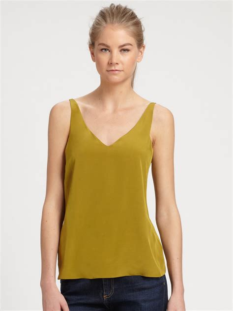 Du Blouse Olive 1 tibi silk blouse in yellow olive lyst