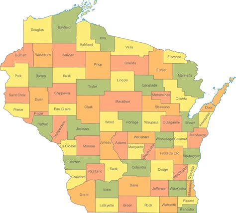 map of wisconsin counties wisconsin wi travel around usa