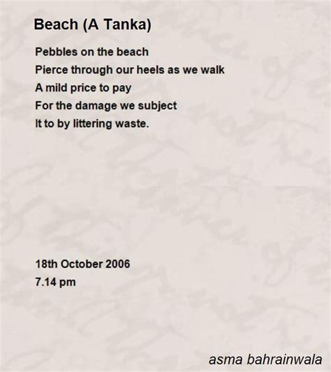 beach a tanka poem by asma bahrainwala poem hunter