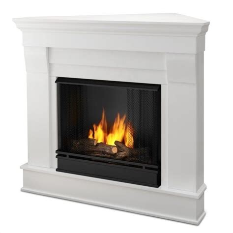 Finish Fireplace by Real Chateau Gel Corner Fireplace In White Finish