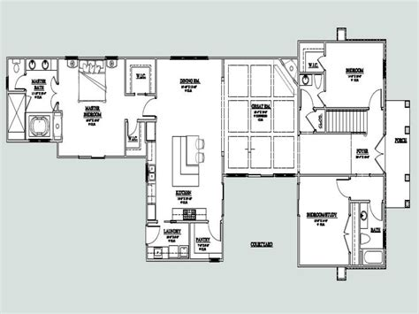 floor plans with courtyard u shaped one story house u shaped house plan with