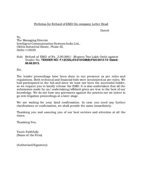 Official Letter Performa performa for refund of emd on company letter head1
