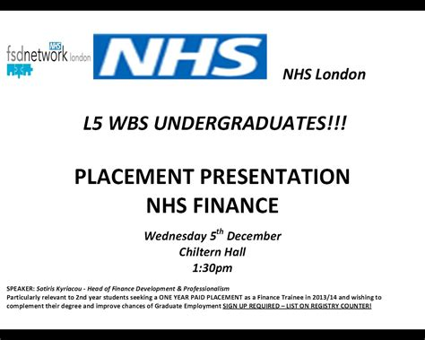 Nhs Mba by Westminster Business School Nhs Finance Placement